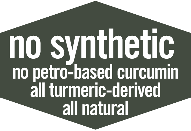 No Synthetic Curcumin: No petroleum based curcumin, all turmeric derived, all natural
