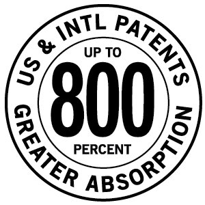 U.S. Patented for up to 800 Percent Greater Absorption